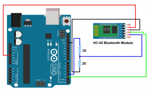 connection of arduino and bluetooth module