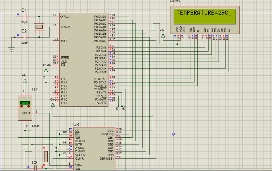 Temperature sensor lm35  interfacing with 8051   MechaTerrain