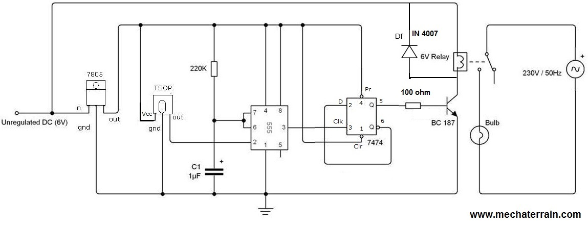 tsop and 7474 are 5v operated  the output of the tsop is 5v but when ir ray  strikes the output at tsop becomes 0v  diode df is freewheeling diode